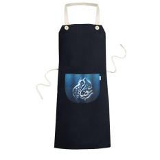 AGAMA BIRU Pola Kata Islam Muslim Memasak Dapur Hitam Bib Celemek dengan Saku untuk Women Pria