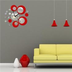 Dapat Dilepas Akrilik Jam Desain Lingkaran Efek Cermin Mural Dinding Stiker Artistik Modern Dekorasi Rumah DIY