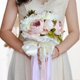 Diskon Retro Artificial Peony Rose Flower Wedding Bridal Bouquet With Pearl Lace Ribbon Intl Oem Tiongkok