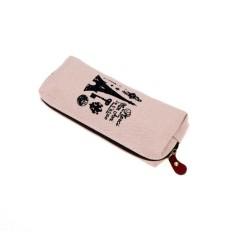 Kanvas Lawas Paris Casing Pena Pensil Make Up Kosmetik Tas Dompet Koin Tas Zipper Krem-Internasional