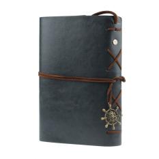 Retro Buku Tulis Sampul Kulit Jurnal Diary Kosong String Nautical (Abu-Abu)