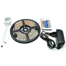 RGB LED Strip 3528 300 LED 5 Meter with 12V 2A Light Controller & Remote Control - Black