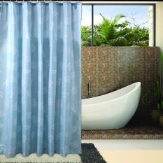 Rhyme Meningkatkan Asli Tahan Air Jamur Padded Polyester Shower Curtain Blue Kerang Add To Plumb Kirim Link, Tinggi 240X200 Biru Kerang-Intl