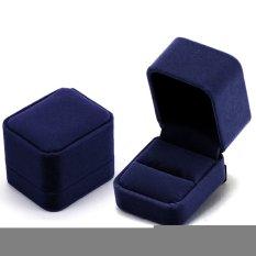 Tampilan Anting-Anting Perhiasan Cincin Kotak Kado wadah Penyimpanan Kain Biru Tua