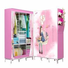 Rinsen Lemari Pakaian Pink Love Wardrobe Portable