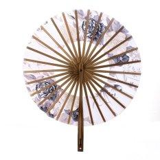 Ris Jepang Windmill Circle Round Tangan Fan Spun Silk Bunga Bambu Kipas Lipat
