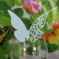 RIS 50 Pcs Biru Tempat Kartu Nama Kupu-kupu Pernikahan Dekorasi Meja Makan Gelas Kaca