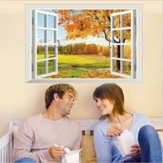 Romantis 3D False Jendela Pemandangan Musim Gugur Maple DIY Wall StickersLiving Kamar TV/Sofa Latar Belakang Rumah Dekorasi Mural Decal Wallpaper -Intl