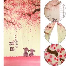 Model Cherry Blossom Romantis Sakura Japanese And British Anjing Kecil Noren Pintu Tirai Internasional Terbaru