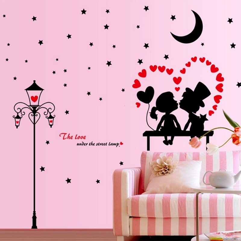 Romantic English Letters Heart Bentuk Pecinta Moon Stars Light Wall Decal Home Sticker PVC Mural Vinyl Paper House Decoration Wallpaper Ruang Tamu Kamar Tidur Dapur Gambar Seni DIY untuk Anak Remaja Remaja Dewasa Anak-Intl