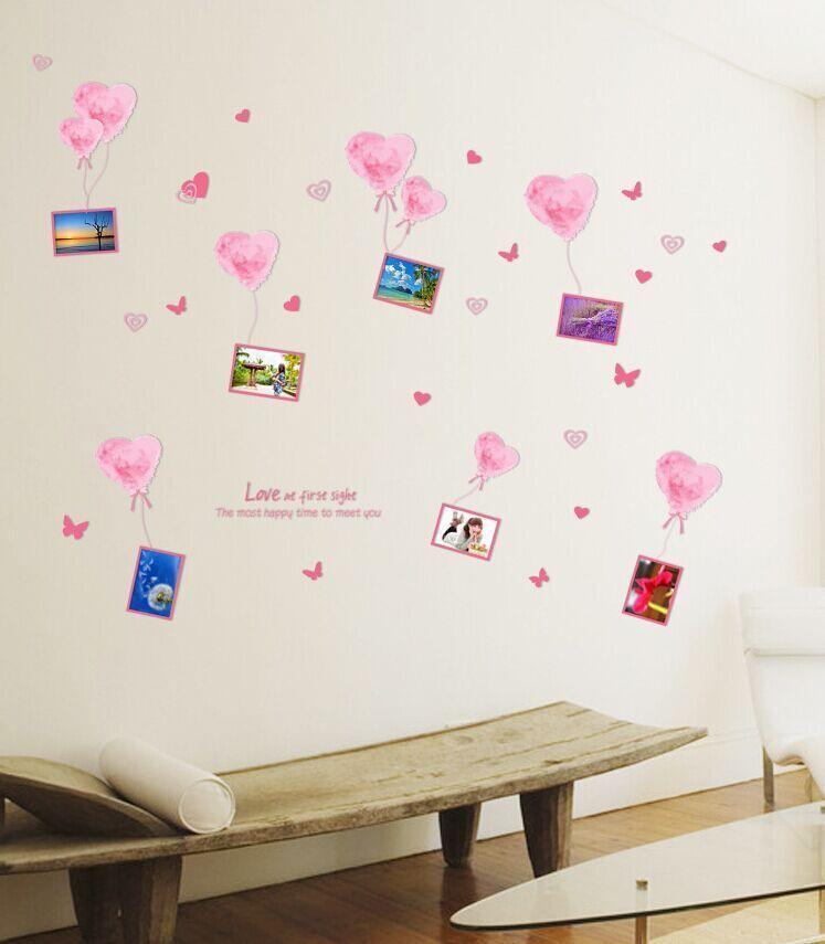 Romantis cinta balon membuat sendiri bingkai foto yang dapat dilepas stiker dinding kamar anak kamar pengantin dekorasi rumah lukisan dinding stiker Wallpaper AM9048 - Internasional