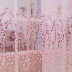 Diskon Romantis Kain Paul Kain Tule Bunga Panel Pintu Kelambu Jendela Tirai Balkon Berwarna Merah Muda Akhir Tahun
