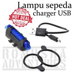 Romusha Lampu Sepeda Belakang Usb Charger Led Biru Rear Bicycle Light Charger