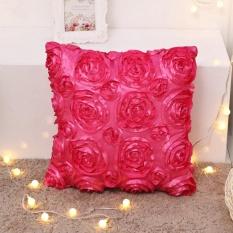 Ulasan Rose Bunga Polyester Murni Sarung Bantal Sofa Sarung Bantal Kursi Dekorasi Rumah Internasional