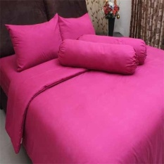 Rosewell Bedcover + Seprei Microtex Polos 200x200cm - Pink Tua