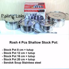 Toko Rosh 4 Pcs Shallow Stock Pot Stainless Berkualitas Rosh Cookware Di Dki Jakarta