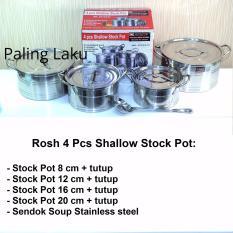 Beli Rosh 4 Pcs Shallow Stock Pot Stainless Berkualitas Murah Dki Jakarta