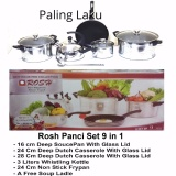 Beli Rosh Cookware Panci Set Stainless Kettle Fry Pan Non Stick 9 Pcs Lengkap