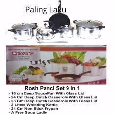 Beli Rosh Cookware Panci Set Stainless Kettle Fry Pan Non Stick 9 Pcs