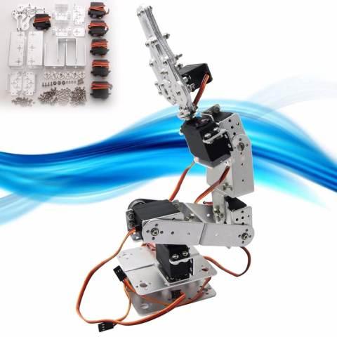 ROT2U 6DOF Aluminium Robot Lengan Mechanical Robotic Clamp Claw untuk ARDUINO-Silver-Intl 1