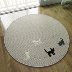 Round Thin Cartoon Cat Meja Kopi Lantai Tikar Mudah Dicuci Karpet untuk Kamar Tidur Komputer Chair Karpet Anak Bermain Cushion Yoga Mat (Beige) 100x100 CM-Intl