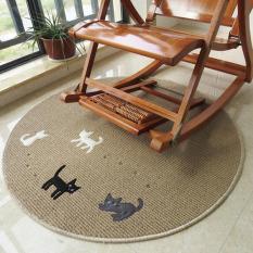 Round Thin Cartoon Cat Meja Kopi Lantai Tikar Mudah Dicuci Karpet untuk Kamar Tidur Komputer Chair Karpet Anak Bermain Cushion Yoga Mat (Kopi) 100x100 CM-Intl