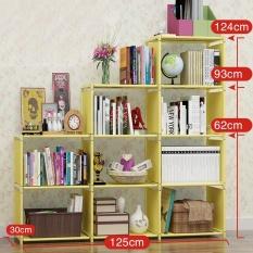 RuYiYu - 125X31X124cm, 4 Tier 9 Shleves DIY Adjustable Nonwovens Bookcase, Floor Bookshelf with Book Shelves, Home Furniture Organizer Storage Cabinet Bookcase - intl