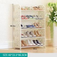 RuYiYu-Kreatif Plastik-Kayu Rak Sepatu Putih, Creative Water-proof Shoe Storage Organizer Kabinet Tower, Tugas Berat dan MUDAH untuk MERAKIT-Intl