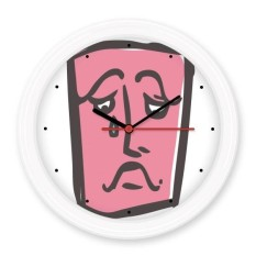 Sad Abstract Face Sketch Emoticons Online Chat Silent Non-ticking Round Wall Decorative Clock Battery-operated Clocks Gift Home Decal - intl