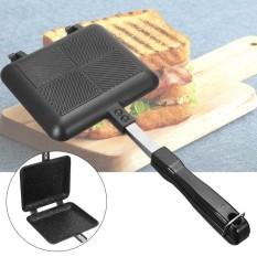 Sandwich Roti Panggang Pembuat Waffle Lipat Pan Antilengket Dapur Tekan Piring Memasak Hitam-Internasional