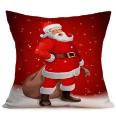 Santa Natal Dicetak Bantal Kasus Sofa Kursi Bedding Hotel Bantal Dekoratif Cover Pillowslip-Intl