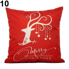 Sanwood Cartoon Pattern Linen Throw Pillow Case Cushion CoverChristmas Theme Pillowcase 10& - intl
