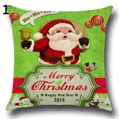 Sanwood Fashion Christmas Xmas Santa Claus Deer Cotton Linen PillowCase Cushion Cover 1& - intl