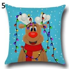 Sanwood Fashion Natal Xmas Santa Claus Rusa Kapas Linen Bantal Bantal Cover 5 &-Intl