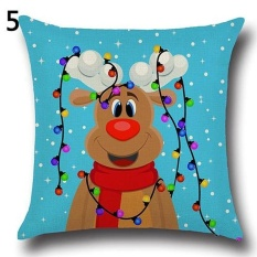 Sanwood Fashion Christmas Xmas Santa Claus Deer Cotton Linen PillowCase Cushion Cover 5& - intl