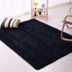 Sanwood® Flokati Berbulu Ruang Anti Selip Karpet 80 Cm X 160 Cm-Hitam