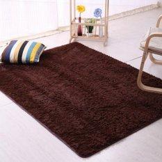 Sanwood® Flokati Berbulu Ruang Anti Selip Karpet 80 Cm X 160 Cm-Kopi