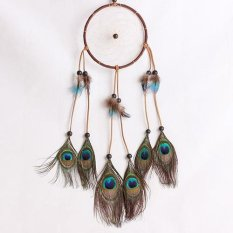 Sanwood Peacock Feathers Dream Catcher Car Wall Room Hanging Decoration Ornament Gift - intl