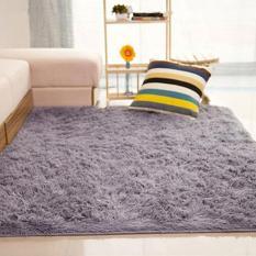 Sanwood® ruang tamu kamar tidur rumah anti selip lembut berbulu halus Area karpet tikar (abu-abu) - International