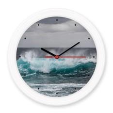 Gelombang Laut Laut Gambar Diam Tidak Berdetak Bulat Dinding Dekoratif Jam Baterai Motif stiker-Internasional