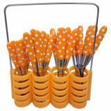 Spesifikasi Sendok Makan Garpu Pisau Set Motif Polkadot Stainless Steel 24 Pcs Babamu Orange Yang Bagus Dan Murah