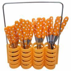 Jual Sendok Makan Garpu Pisau Set Motif Polkadot Stainless Steel 24 Pcs Babamu Orange Di Dki Jakarta