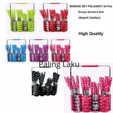 Sendok Set 24 Pcs Polkadot RAK STAINLESS SESUAI GAMBAR - Stainless Steel - MIX Color