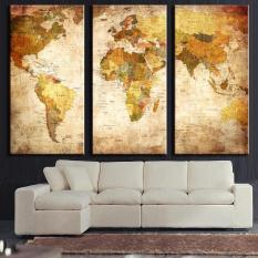 Seni Kanvas Berkualitas Tinggi 3 Panel Vintage Peta Dunia Lukisan Gambar Dekorasi Ruang Tamu Kamar Tidur-dinding Hadiah Seni- Internasional