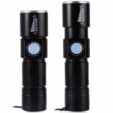 Diskon Besarsenter Led Usb Rechargeable Flashlight Q5 Led 2000 Lumens Black