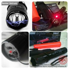 Review Toko Senter Multifungsi Swat Led Setrum Kejut Laser Merah Online