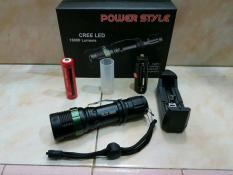 Senter Police Swat 1866 Power Style Led Zoom Fokus Q5 99000 Watt + Baterai Recharge Ultrafire 18650 + Charger Desktop di lapak SWATstore dahlanmuh
