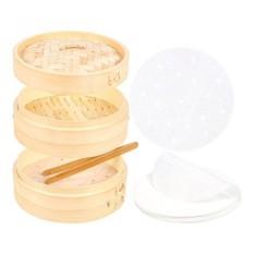 [Seoul Lamore] 8-inch Kapal Uap Bambu Set-termasuk Kapal Uap Bambu Basket, Bambu Tong dan 30 Berlubang Perkamen Liners-bagus untuk Dim Sum, Roti, Pangsit, Sayuran, Ikan-Intl