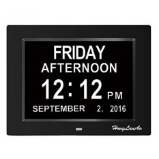 [Seoul Lamore] Jam Alarm, Jam Kalender Digital Hari, Upgrade dengan 8 Alarm, Besar Yang Tidak Disingkat & Bulan, Jam Alarm Digital untuk Asli Kehilangan Memori, Hadiah Bagus untuk Orang Tua (8 Inci/Hitam)-Intl