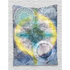[Seoul lamore]Batik Tapestry Zodiac Wall Decor Astrology Chart Calendar Horoscopes Batik Stars Psychedelic Mandala Hippie Tapestry Hanging Dorm Bedroom Living Room Decorations, Blue Purple Yellow Green - intl